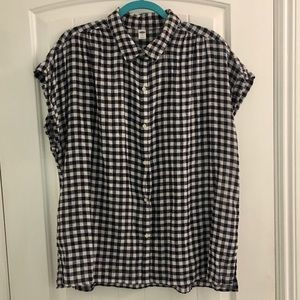 Old Navy Navy & white gingham check top blouse